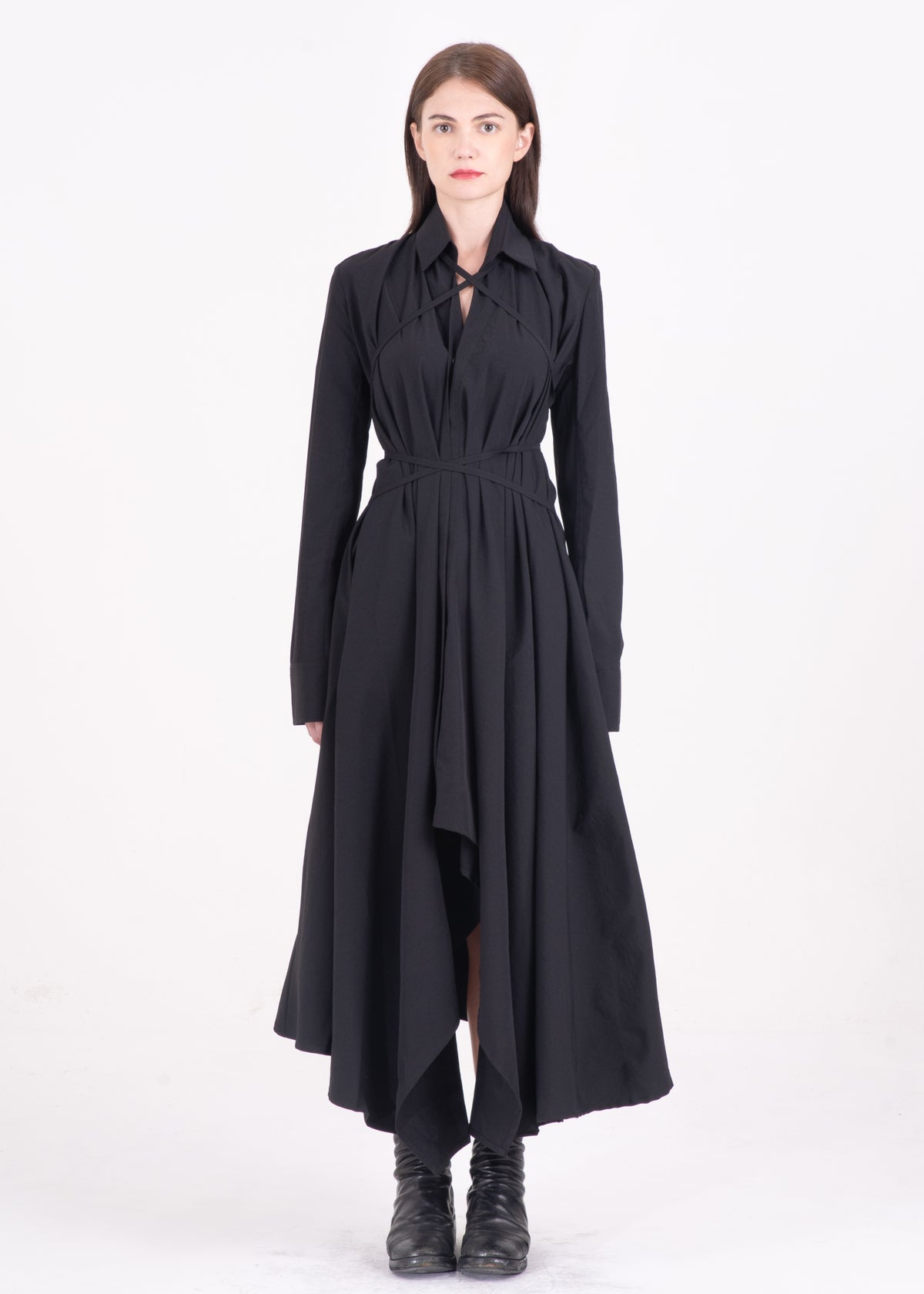 Image of Multi-Way Asymmetric Lace Up Shirt Dress Black