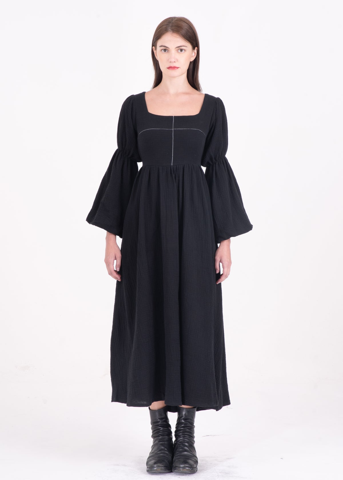 Image of Pansy Long Dress With Cross Stitching