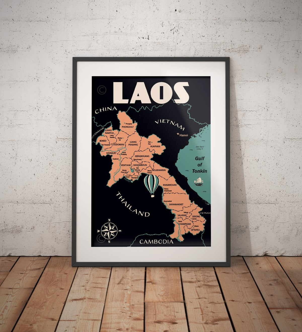 Image of Vintage poster Laos Map - Fine Art Print
