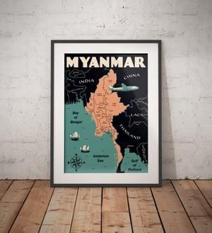 Image of Vintage poster Myanmar Map - Fine Art Print