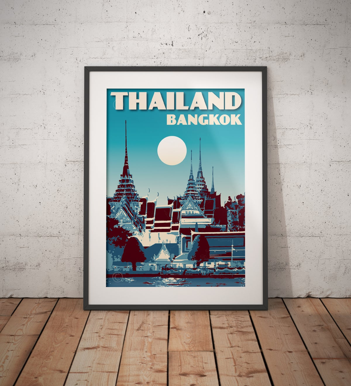 Image of Vintage poster Thailand - Royal Palace Blue - Fine Art Print