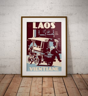 Image of Vintage poster Laos - Vientiane - Tuktuk - Fine Art Print