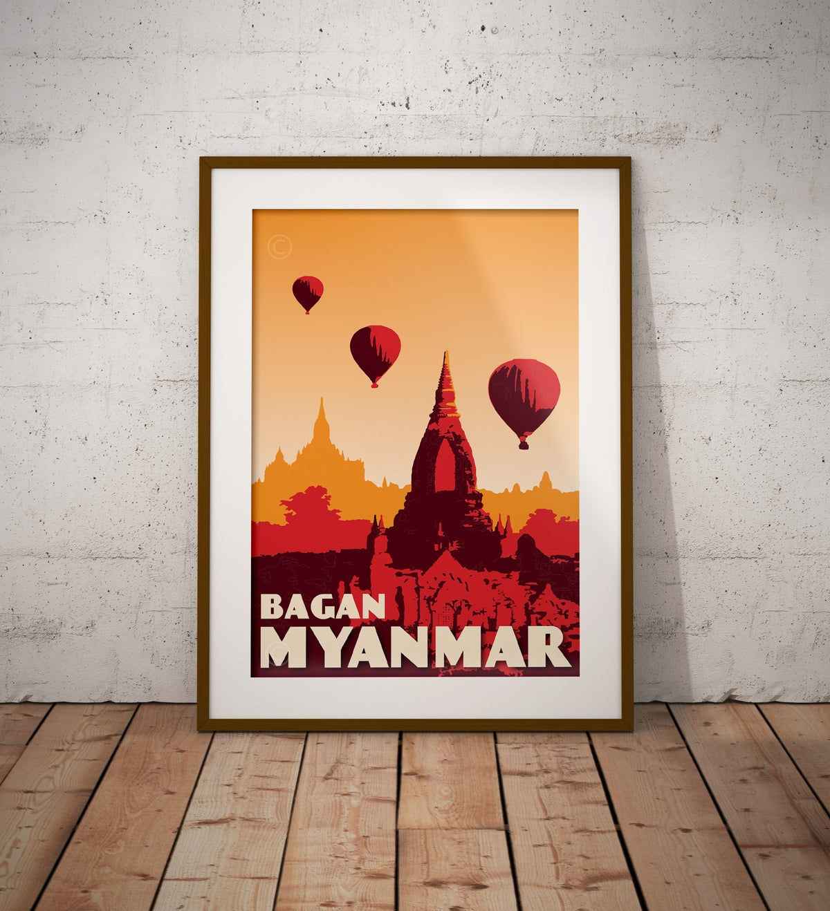 Image of Vintage poster Myanmar - Bagan - Fine Art Print
