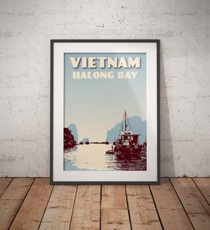 Image of Vintage poster Vietnam - Halong bay - Fine Art Print
