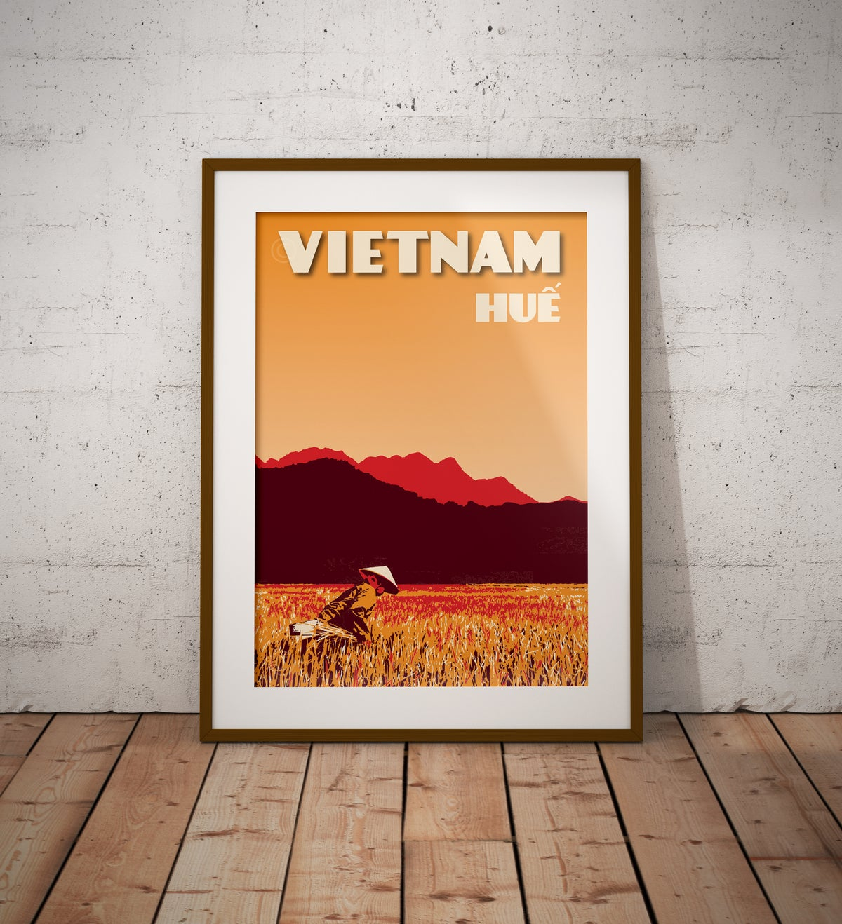 Image of Vintage poster Vietnam - Hue rice field - Fine Art Print