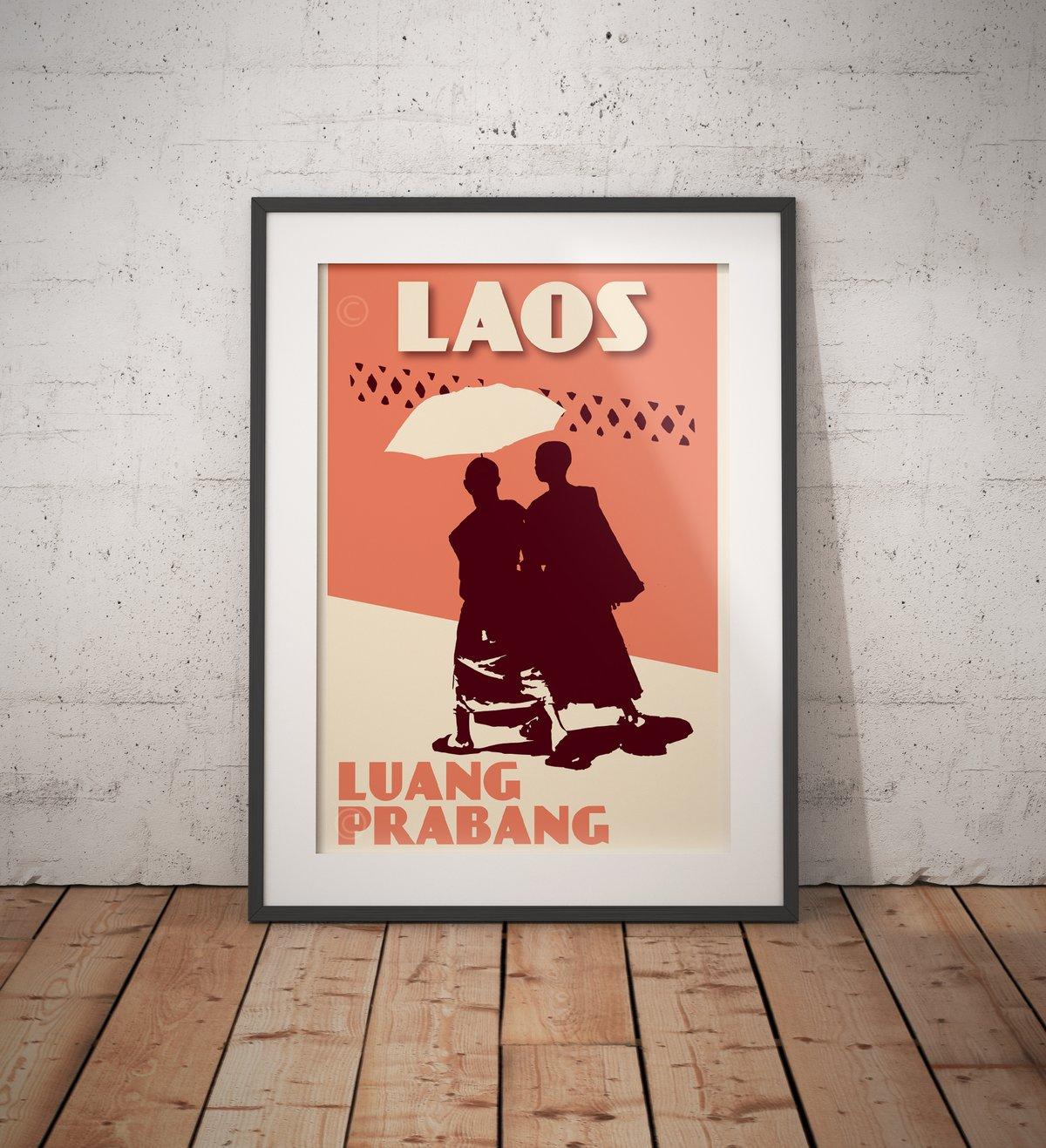Image of Vintage poster Laos - Luang Prabang - Monks - Fine Art Print