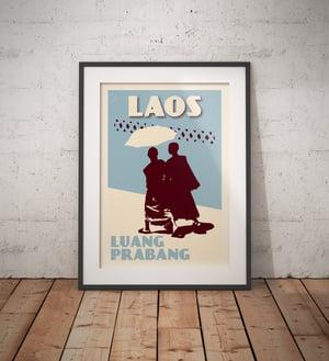 Image of Vintage poster Laos - Luang Prabang - Monks Blue - Fine Art Print