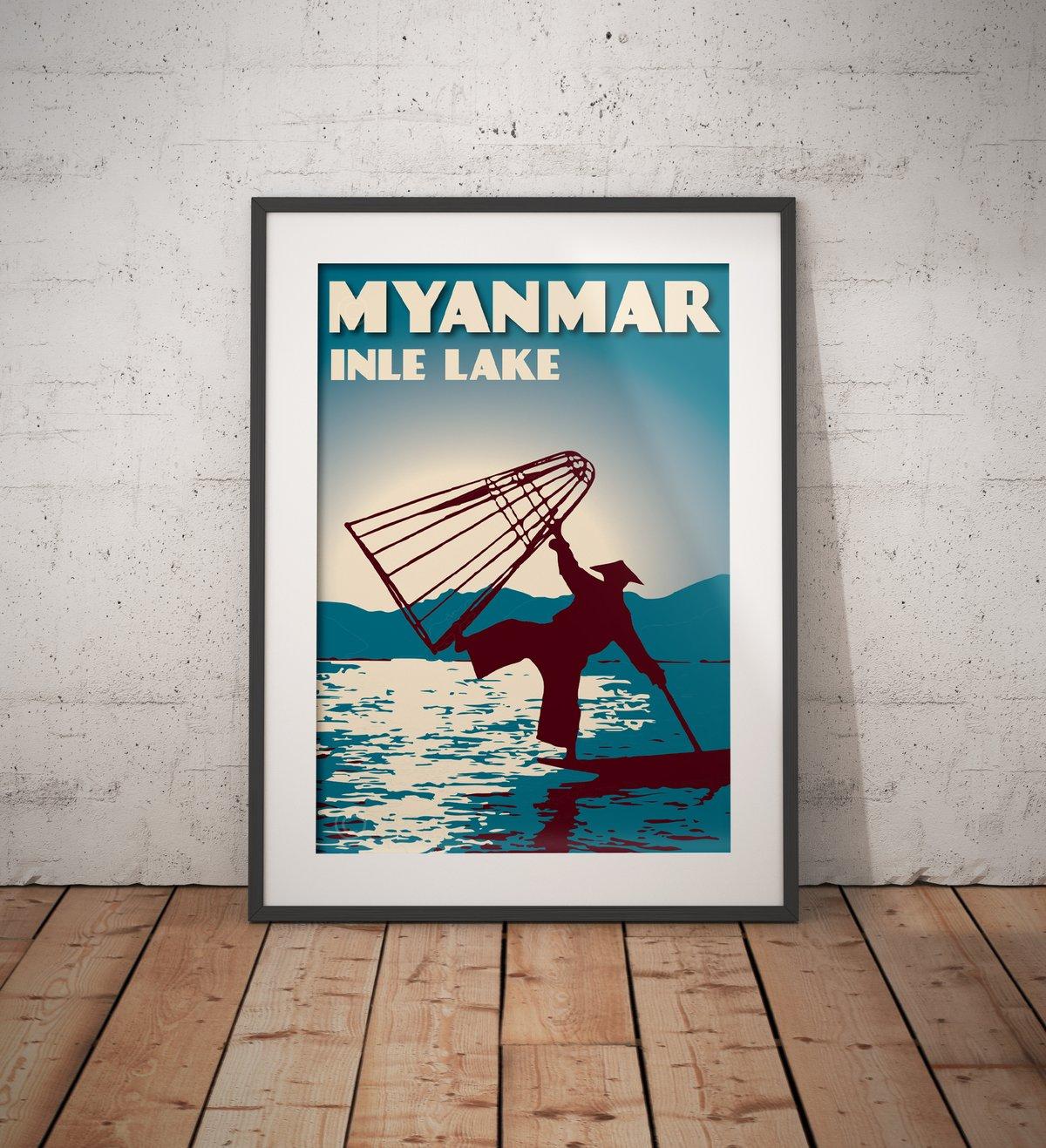 Image of Vintage poster Myanmar - Inle Lake Blue - Fine Art Print
