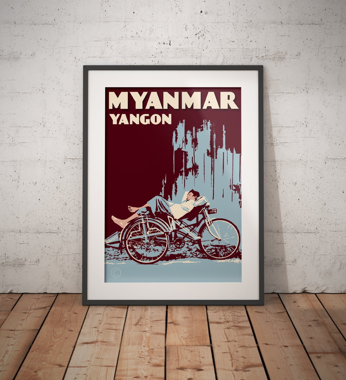 Image of Vintage poster Myanmar - Yangon - Trishaw blue - Fine Art Print