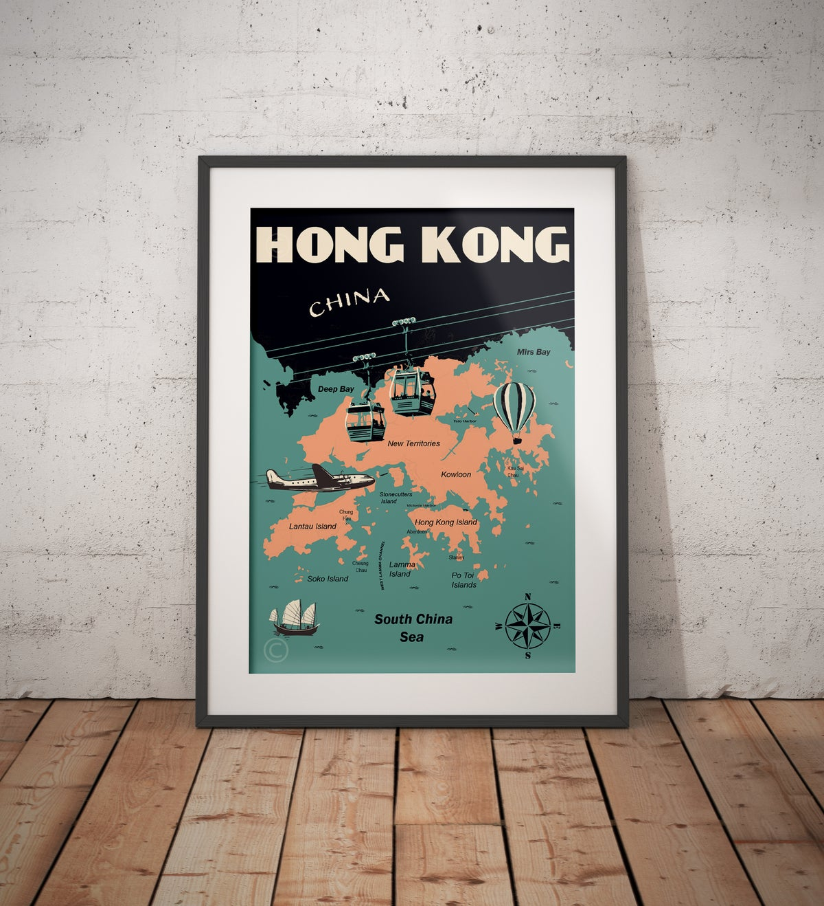 Image of Vintage poster Hong Kong Map - Fine Art Print