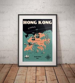Image of Vintage poster Hong Kong Map - Fine Art Print