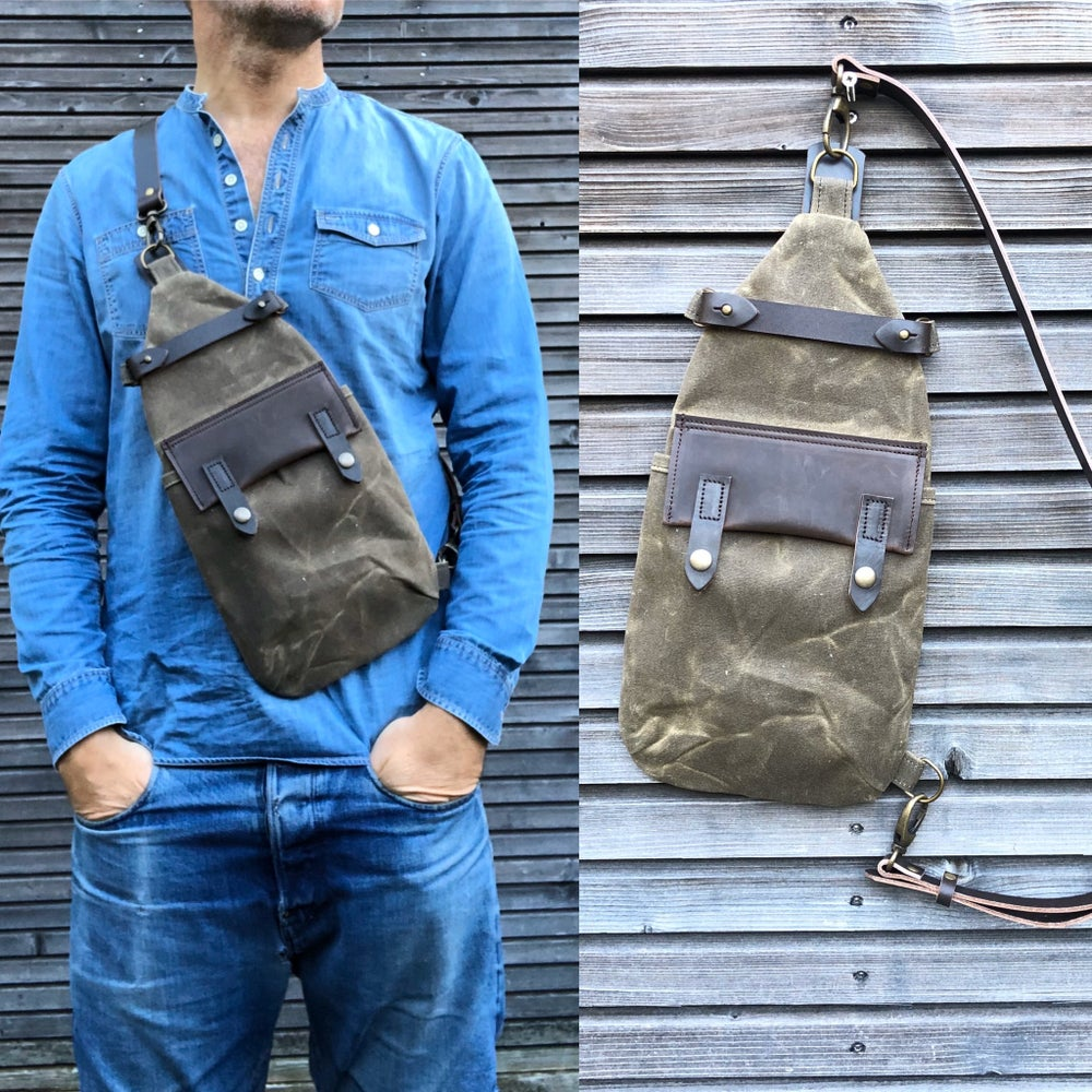 Image of Waxed canvas sling bag in field tan/ chest bag / day bag/ with leather shoulder strap