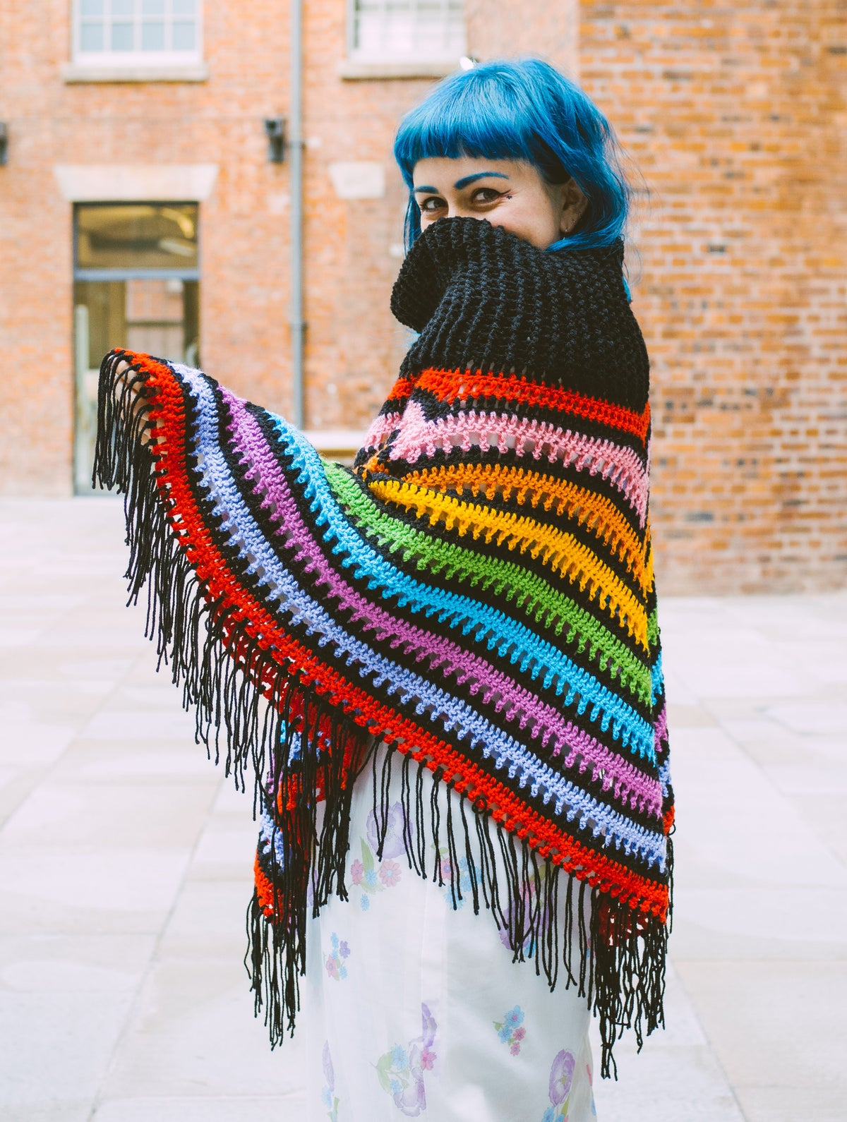 Image of Girl In The Garden Rainbow Poncho