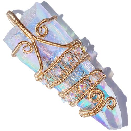 Image of Angel Aura Quartz Crystal Woven Handmade 14K GF Pendant