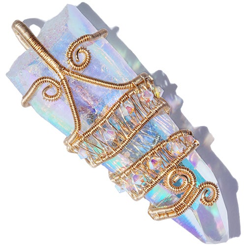 Angel Aura Quartz Crystal Woven Handmade 14K GF Pendant