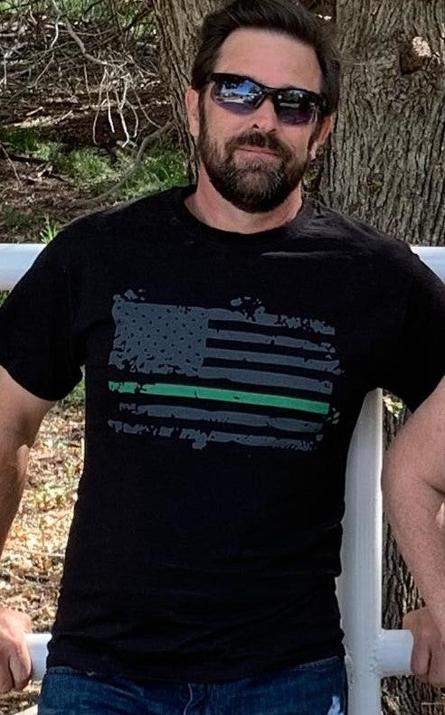 Image of GREEN LINE BP TEE (SUPPORT YOUR LOCAL BORDER PATROL SHIRT)