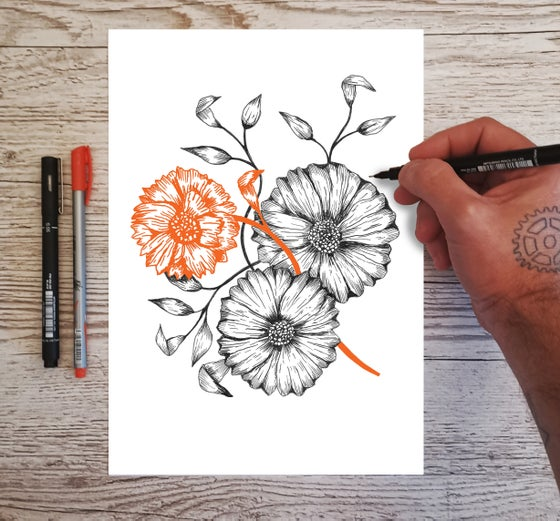 Image of Black and Orange Tattoo Flowers