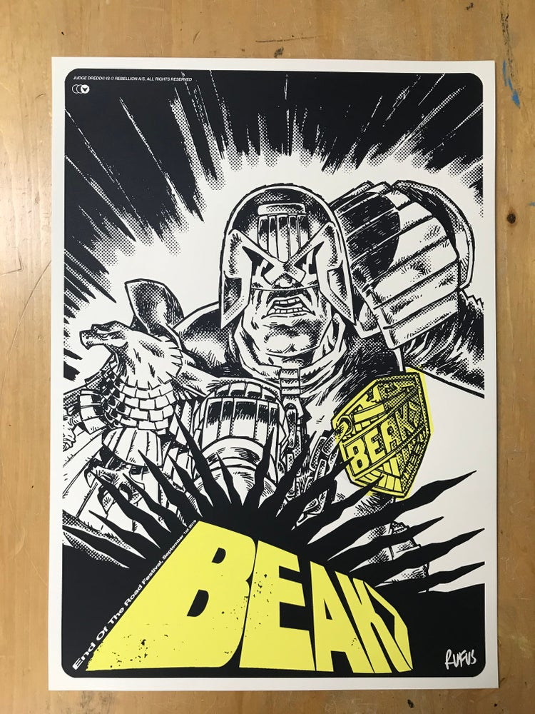 Image of BEAK> End Of The Road 2019. Rufus Dayglo 2000AD collaboration