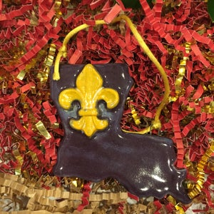 Image of Handmade Louisiana Ornament of Ceramic Clay with Fleur De Lis or Crawfish Claw