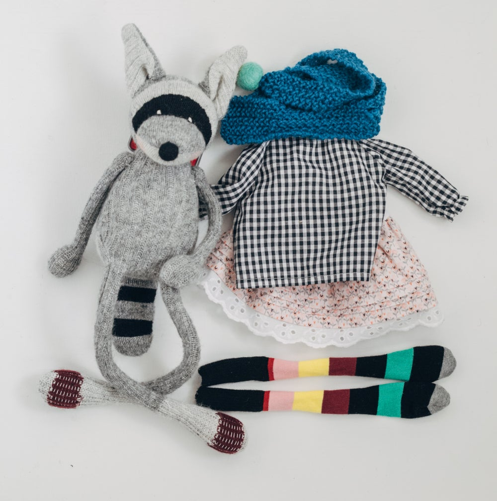 Image of Riley - Wool Filled Sculpted Sock Raccoon with Weighted Bum