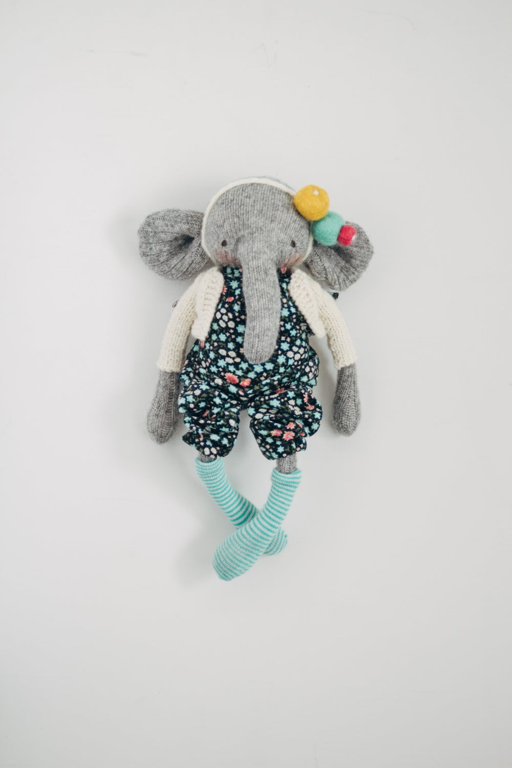 Image of Ellen - Wool Filled Sculpted Sock Elephant with weighted bum
