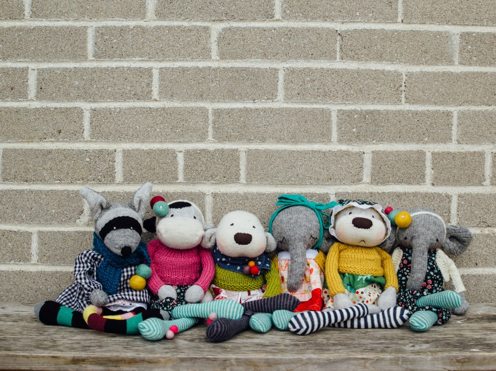 Image of Brook - Wool Filled Sculpted Sock Monkey with weighted bottom