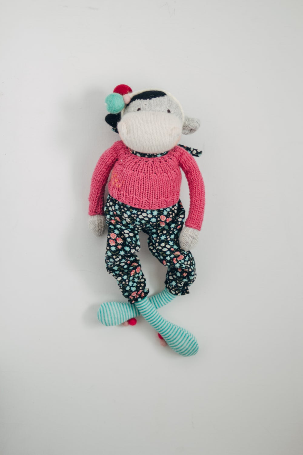 Image of Hilda - Wool Filled Sculpted Sock Cow with weighted bottom