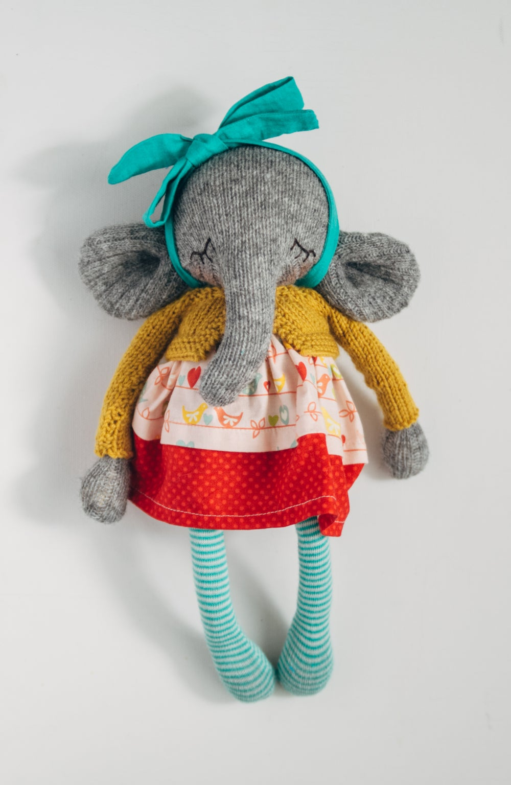 Image of Phyllis - Wool Filled Sculpted Sock Elephant with weighted bottom