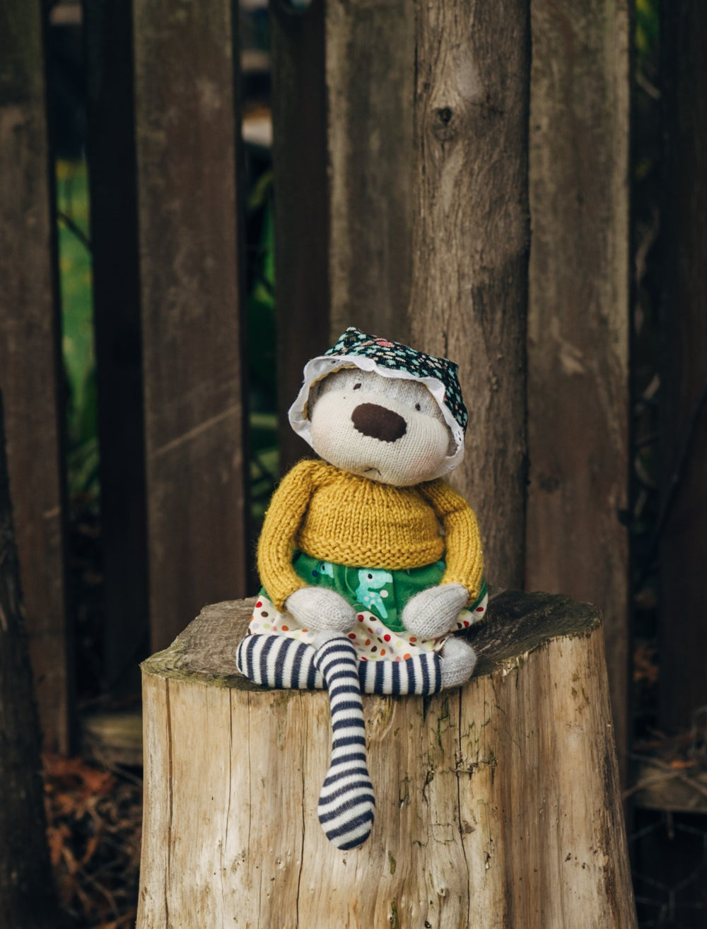 Image of Greta - Wool Filled Sculpted Sock Monkey with weighted bottom