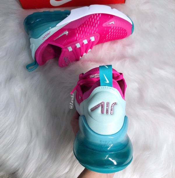 Image of Nike Air Max 270 Pink Girls/Womens customized with Swarovski Crystals.