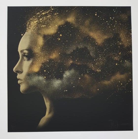 "Image of JOHN DOE - ""NEBULA 3.1"" - HAND FINISHED SCREENPRINT LTD EDITION GOLD 25 - 40CM X 40CM"