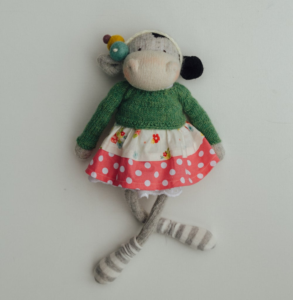 Image of Bernice - Wool Filled Sculpted Sock Cow with weighted bottom