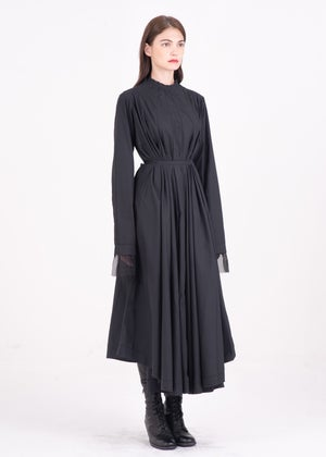 Image of Belted Shirt Dress in Black Cotton