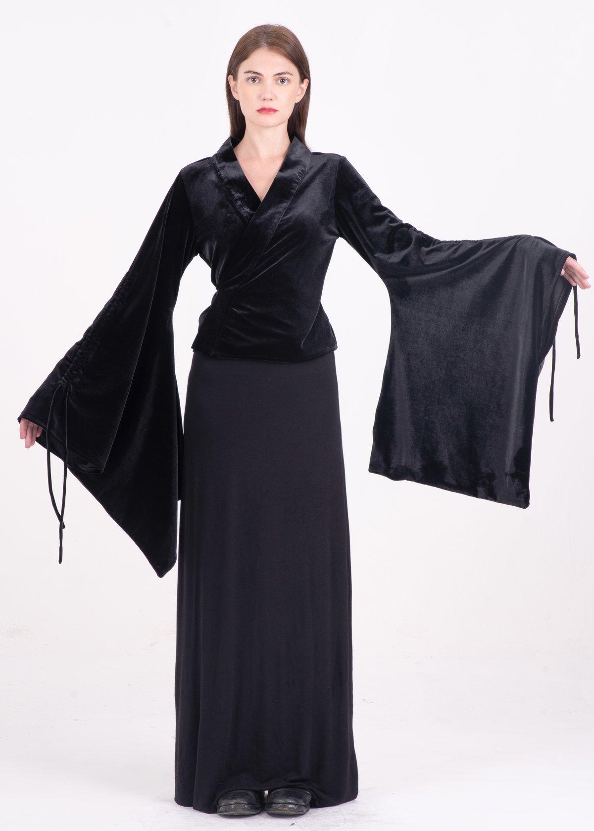 Image of Tie-detailed Billowing Sleeves Top in Black Velvet