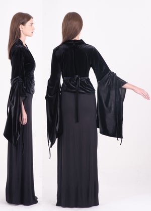 Image of Tie-detailed Billowing Sleeves Top in Black Velvet