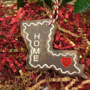 Image of Handmade Louisiana HOME Gingerbread Ornament of Ceramic Clay