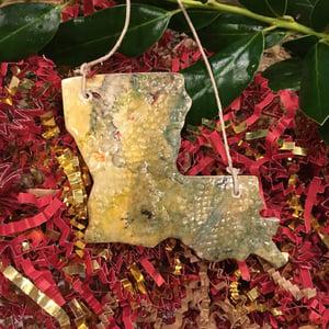 Image of Handmade Louisiana Ornaments of Stoneware Clay. State of Louisiana