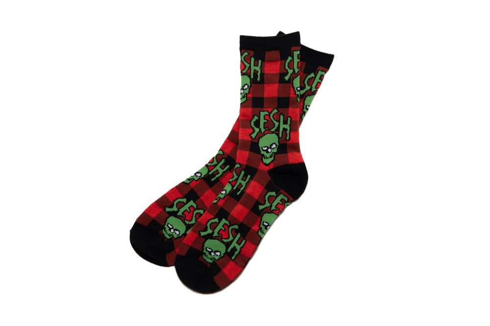 Image of SESHSKULL Plaid knitted socks