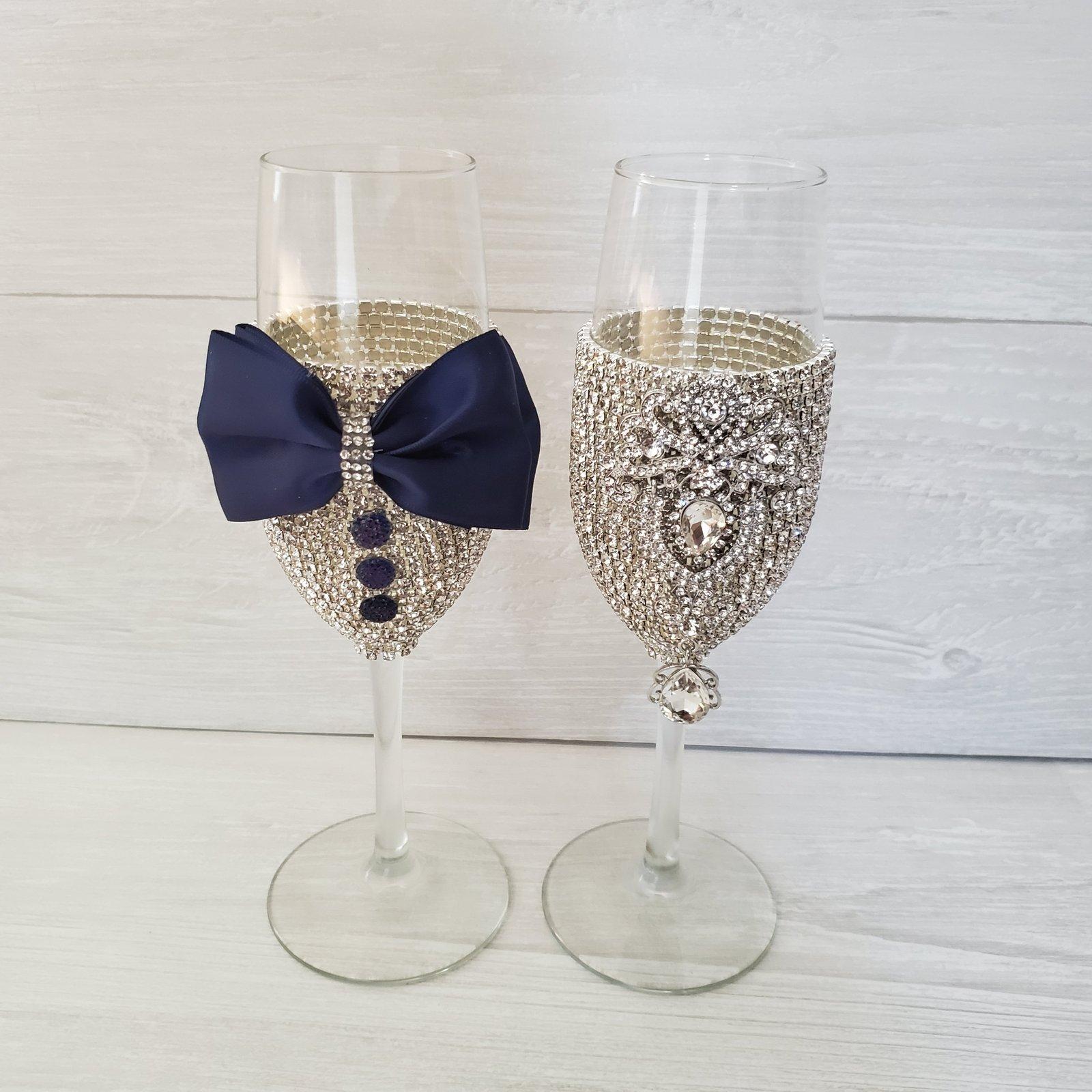 Rhinestone Bottle and champagne glasses