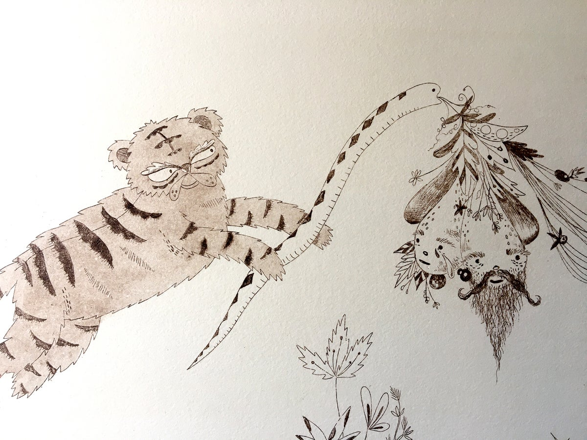 Image of Tiger Tales - Intaglio Etching Print