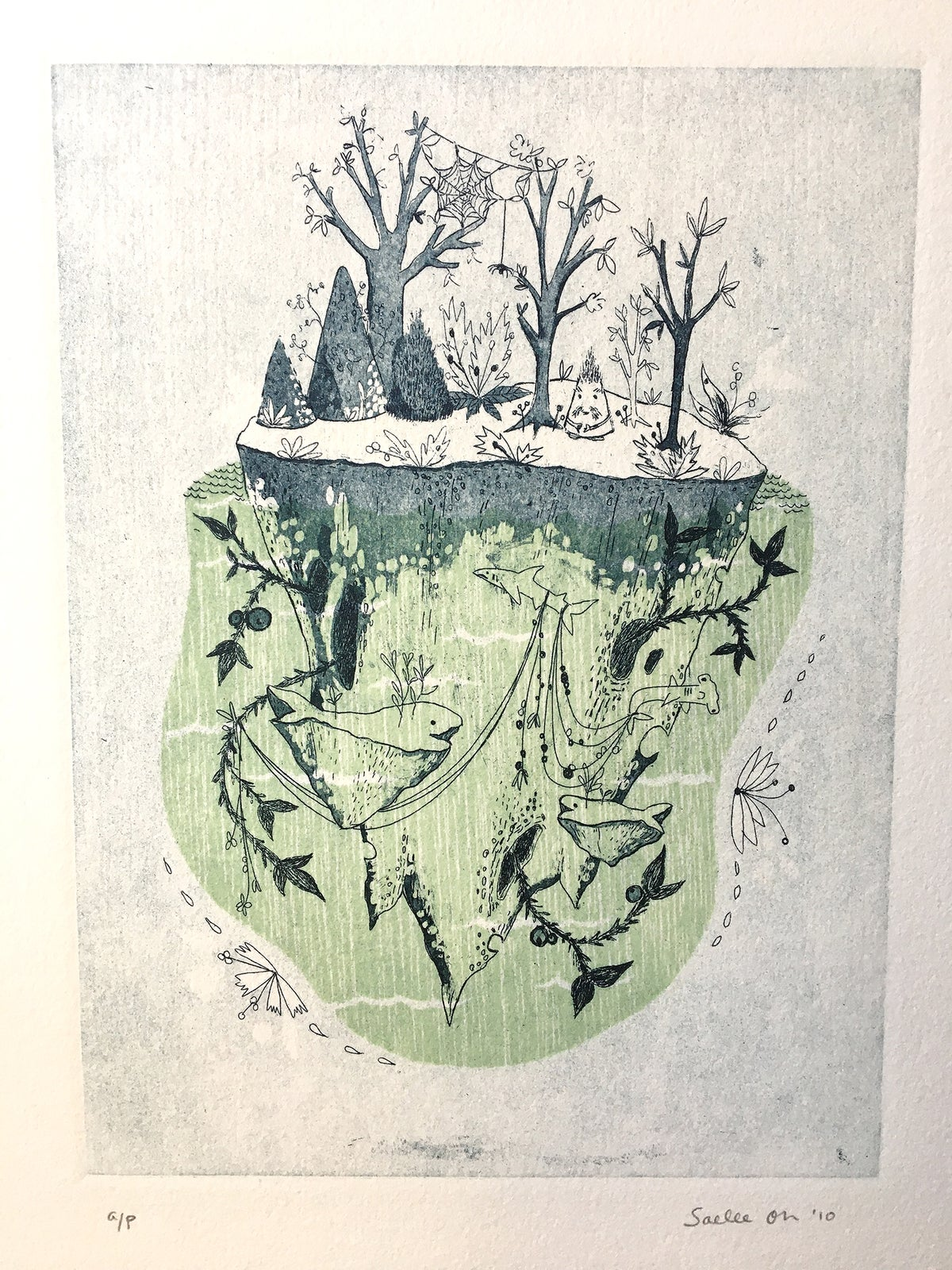 Image of Shark Island - Woodcut and Intaglio Etching Print