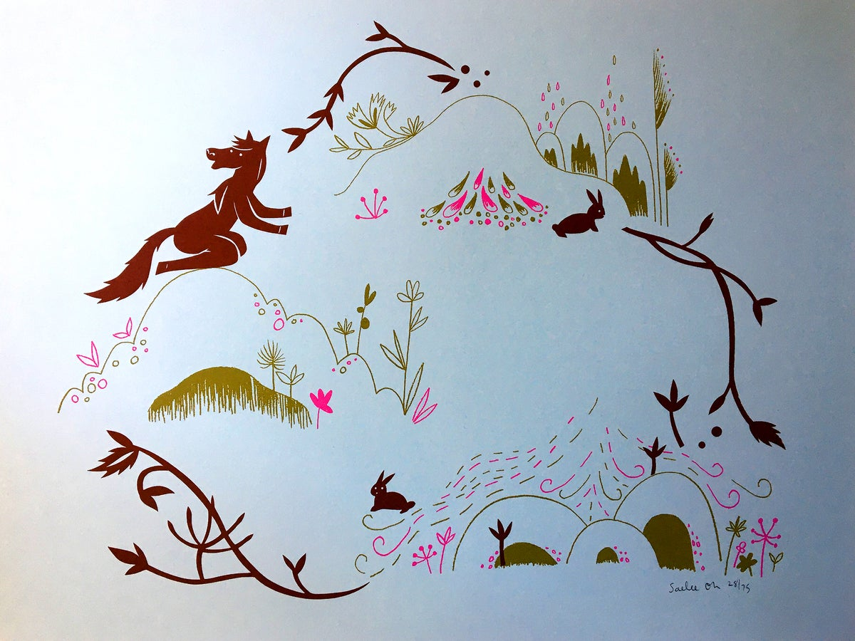 Image of Horse Bunnies - Silkscreen Print