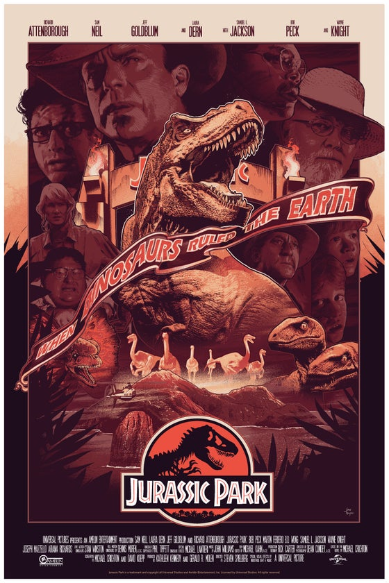 Image of NYCC VARIANT JURASSIC PARK Film Poster SIGNED AP