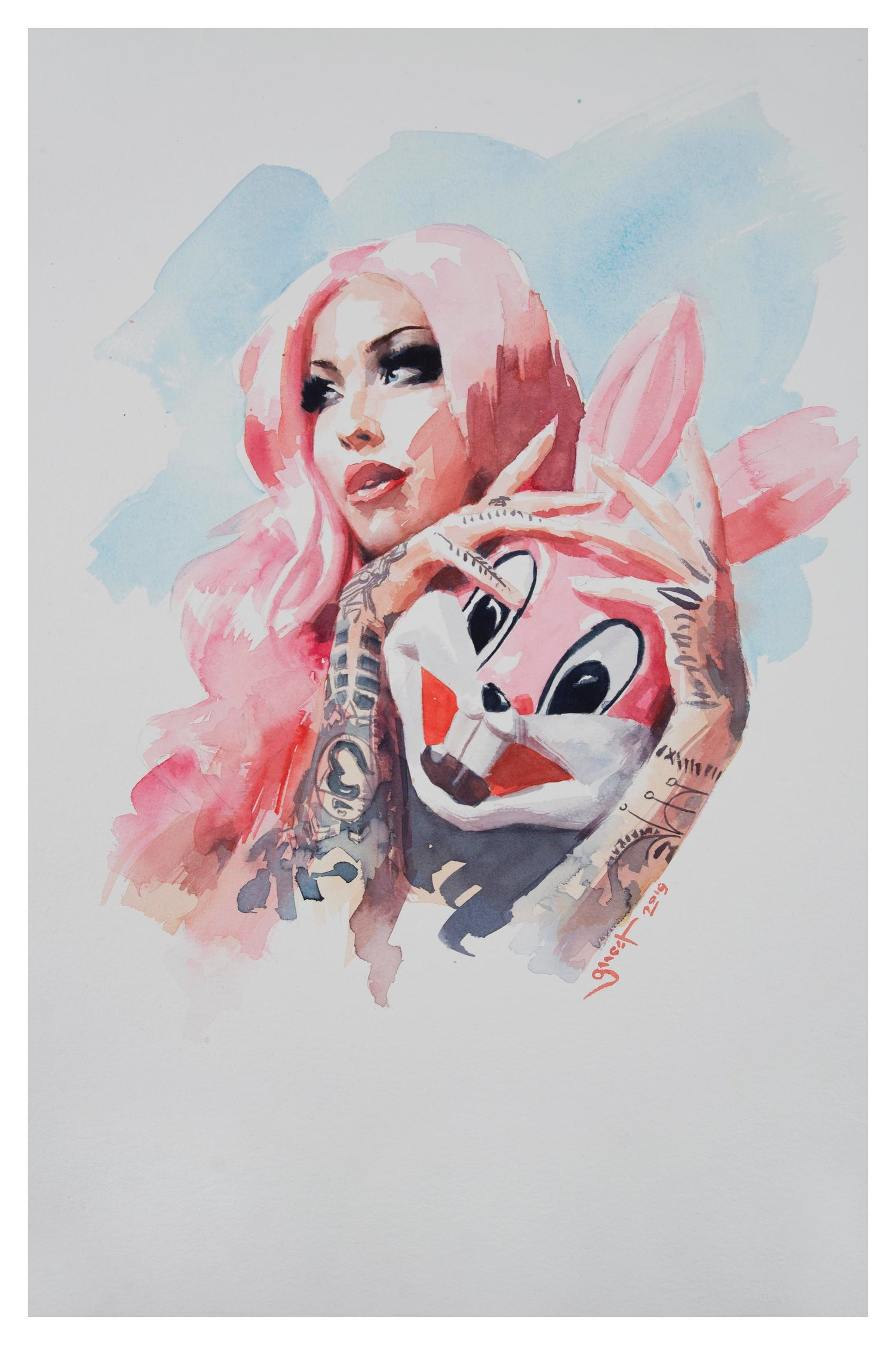 Image of Extremely Limited DIAMOND DUST Hand Embelished 'BUNNY MASK' Giclee Print