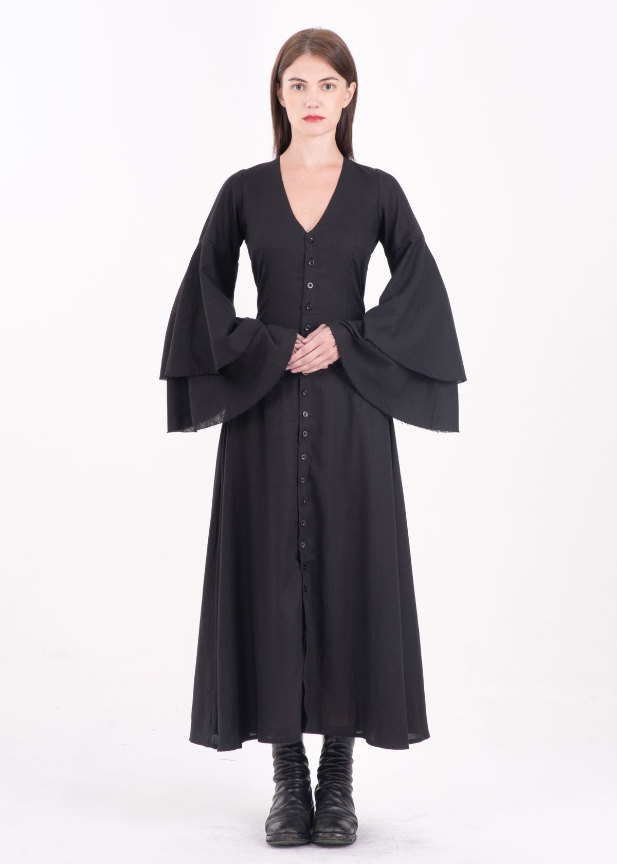 Image of Diane Layered Sleeve Long Dress