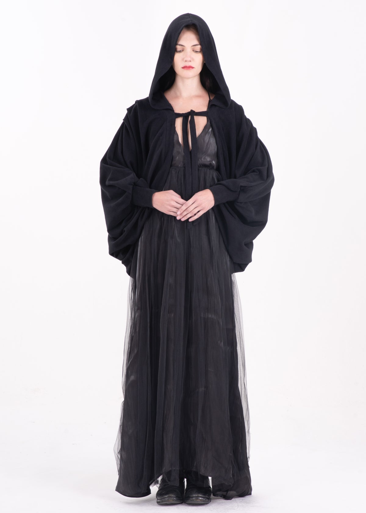 Image of  SAMPLE SALE - Lace Up Hooded Cape
