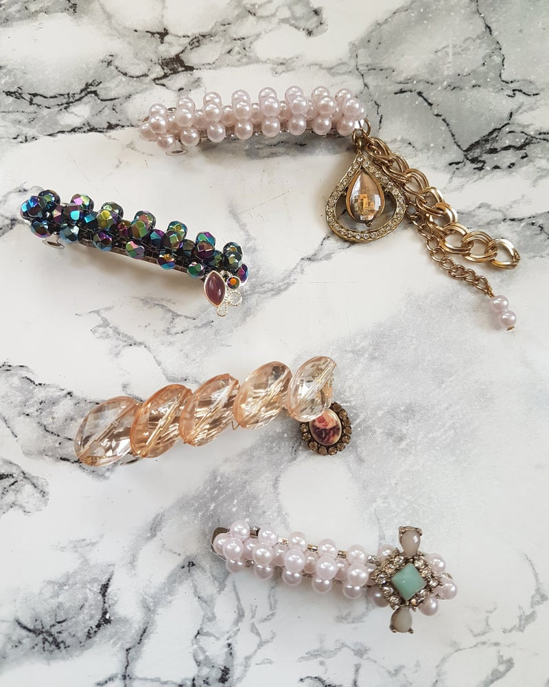Image of Jewelled Barrette Clips...