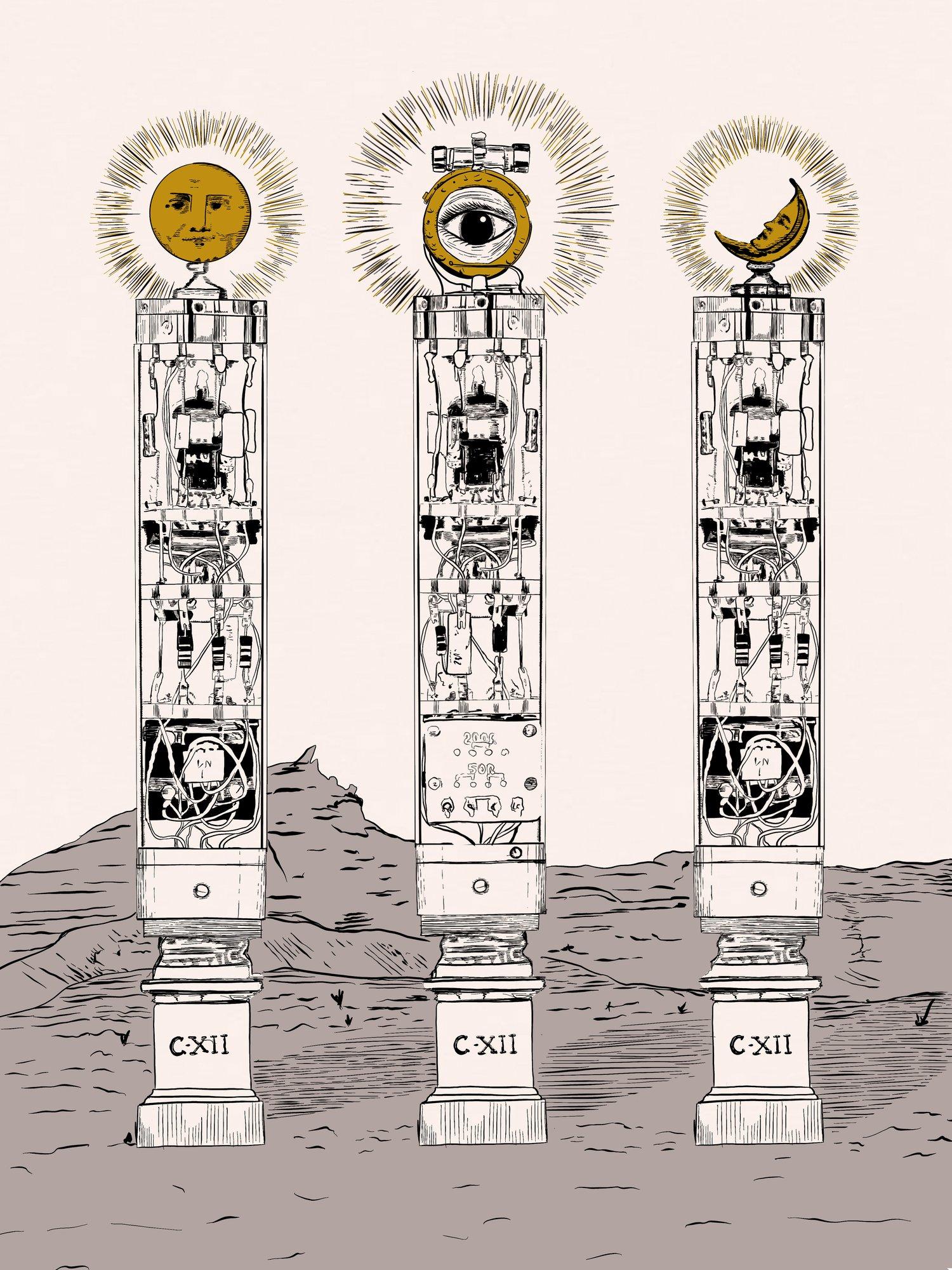 Image of Pre-Order - 3 Pillars of C12 18x24 Screen Print