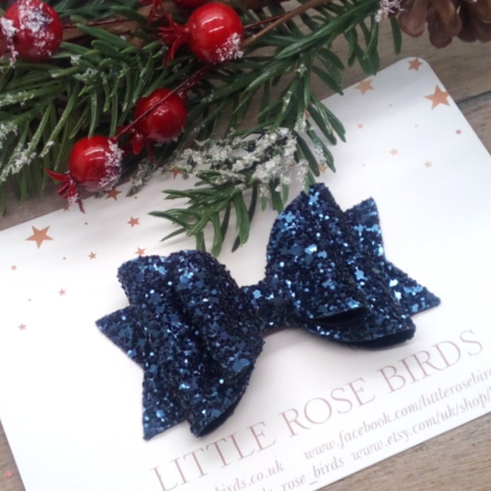 Image of Navy Blue Glitter Bow - Choice of Size