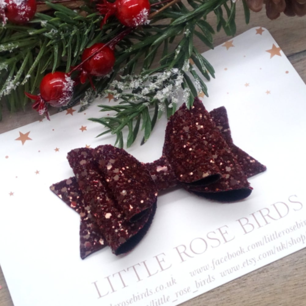 Image of Burgundy Glitter Bow - Choice of Size